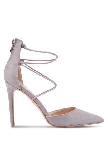 Public Desire grey Volt Strappy Court Heels 8169ASHE80CA95GS_1