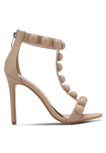Public Desire beige Faded Large Stud Detail Barely There Heels PU378SH0SIPNMY_1
