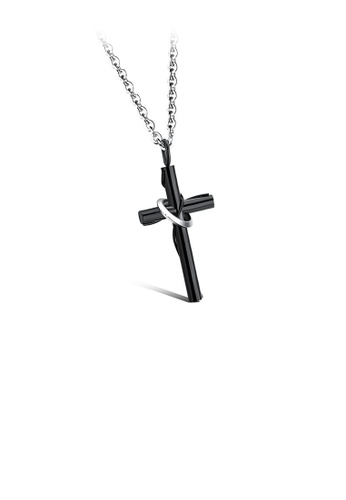 Glamorousky silver Simple Classic Plated Black Cross 316L Stainless Steel Pendant with Necklace D2AB3ACF1A98E8GS_1