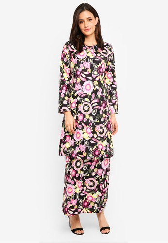 Gene Martino black and pink Floral Cotton Kurung D1624AA1F46A1AGS_1