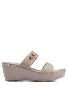 fea373156506 Bata grey and brown Slide-On Wedges 40861SH7B59CC9GS 1