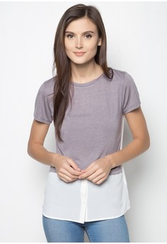 Shirt And Tee Hybrid Short Sleeved Top
