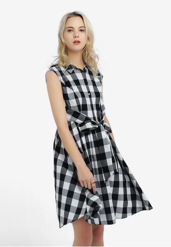 Hopeshow black and white Checkered Dress 31F61AA814CDFDGS_1