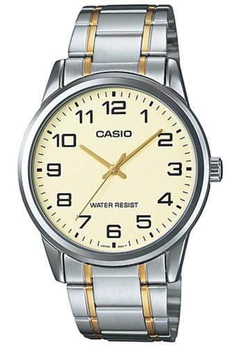 Casio silver Casio Analog Jam Tangan Pria Gold Kombinasi Strap Rantai MTP -V001SG-9B c37337f51d