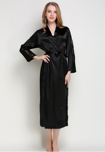 10a4f434ddcd SMROCCO black Silk Luxurious Women Long Robes L8005 (Black)  A40E5AAFEC39F4GS 1