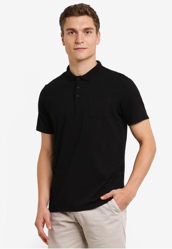 Burton Menswear London black Black Stretch Polo Shirt BU964AA0RWMBMY_1