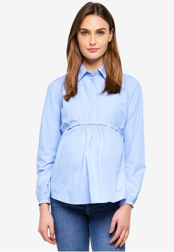 Mama.licious blue Maternity Abanda Long Sleeve Top 0D0B4AAA072968GS_1