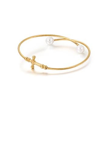Glamorousky 白色 時尚經典鍍金色十字架316L鋼手鐲配仿珍珠 805FAAC65C0B0BGS_1