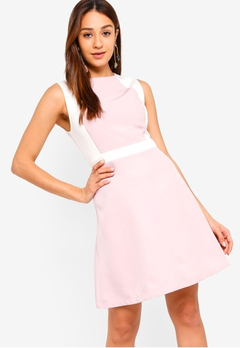 ZALORA pink and multi Colorblock A-Line Dress 98D6AAA1802112GS_1