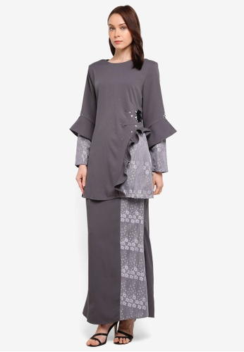 peace collections grey Floral Applique Kurung CDF48AAC7BEBD9GS_1