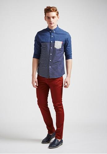 esprit 衣服單寧休閒。彈力棉質。皮標多色長褲-02337-磚紅, 服飾, 直筒褲