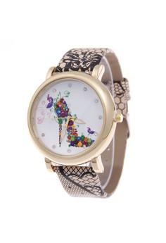 Vintage Flower Leather Quartz Wristwatch