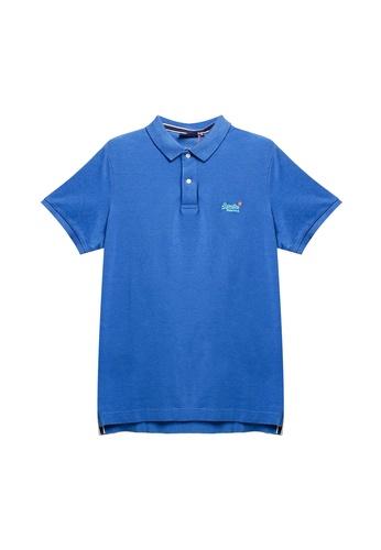 SUPERDRY blue Classic Pique Short Sleeve Polo Shirt 01DE1AA90B8457GS_1