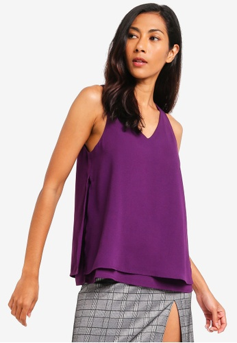 ZALORA BASICS purple Basic Double Layer Top FDBDEAA8B3AA21GS_1