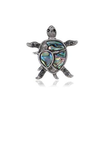 Glamorousky black Fashion Cute Turtle Shell Brooch with Black Cubic Zirconia 08B3FACFEDF76DGS_1