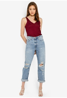 35f8ba3f5d126 River Island Mom Washington New Rip Jeans HK$ 415.90. Available in several  sizes