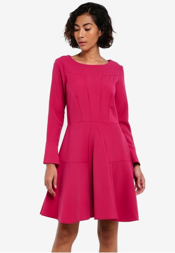 CLOSET pink Paneled Volant Skirt Dress CL919AA0RSUZMY_1
