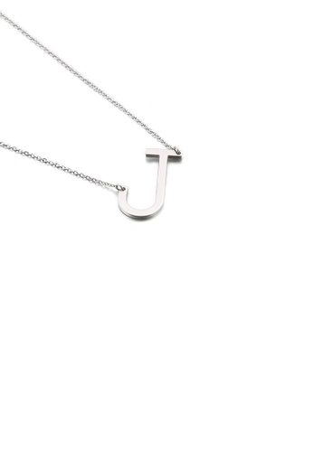 Glamorousky silver Simple and Fashion English Alphabet J 316L Stainless Steel Pendant with Necklace 68D0AACD7719ADGS_1