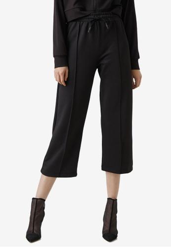 KOTON black Cropped Drawstrings Trousers ED6BBAAFD0369BGS_1