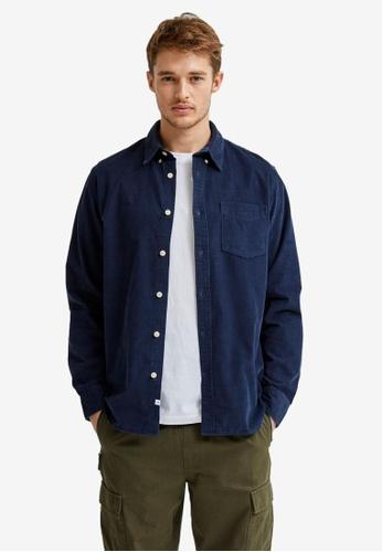 Selected Homme navy Oscar Long Sleeve Slim Shirt E45B7AA8D818D6GS_1