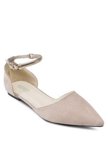 Linsey 鏈飾繞踝尖頭平底鞋,esprit outlet 女鞋, 鞋