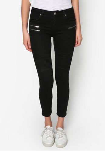 窄管拉鍊騎士牛仔褲, 服飾,zalora taiwan 時尚購物網鞋子 緊身牛仔褲