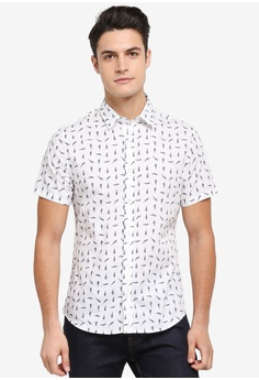 Burton Menswear London white White Short Sleeve Fern Print Shirt  6CA1BAA15E1F84GS_1