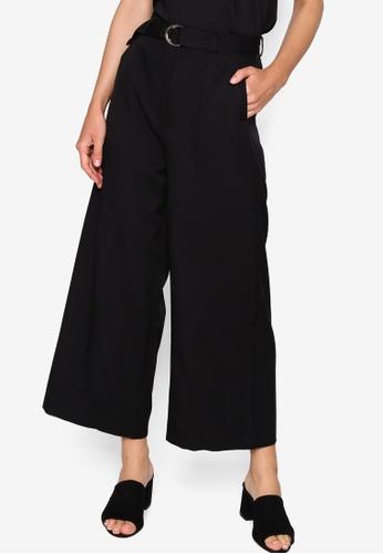 ZALORA WORK black D Ring Long Pants B0506AAF6BA2B0GS_1