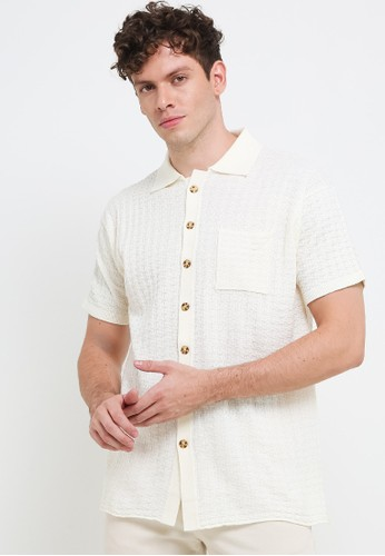 Noir Sur Blanc white Men Shirt Knit with button 19CC7AA2D96735GS_1