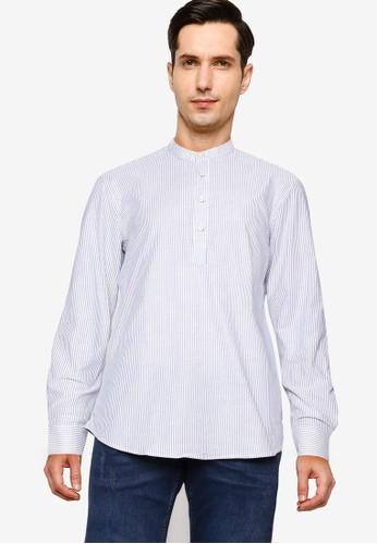 UniqTee blue Solid Mandarin Collar Long Sleeve Shirt 52665AA73F7C3EGS_1