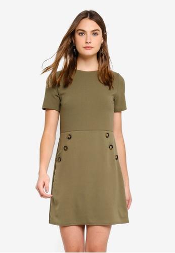 Dorothy Perkins 綠色 Khaki Button Shift Dress E43F3AA4058767GS_1