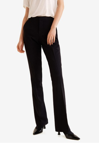 MANGO black Flared Cotton-Blend Trousers 19ABEAA2D5CF48GS_1