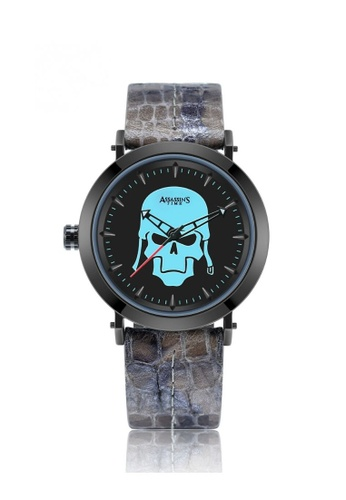 Assassin's Time grey Assassin's Time SKULL FIGHTER Grey Leather C7114ACD9DCEBAGS_1