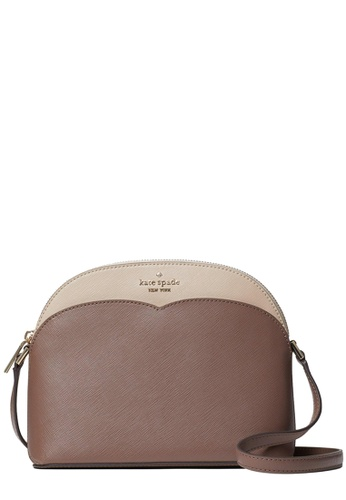 Kate Spade brown and beige Kate Spade Payton Colorblock Dome Crossbody Bag in Neutral Multi 54CAEAC14C96E9GS_1
