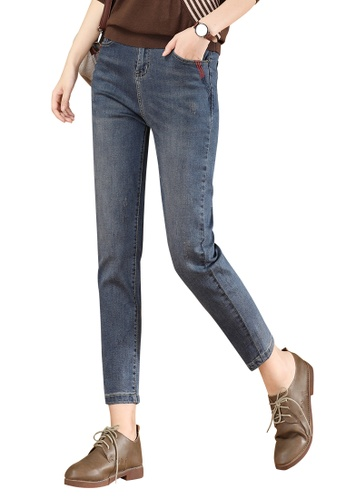 A-IN GIRLS navy Elastic Waist Embroidered Jeans CD90FAA557AA3FGS_1