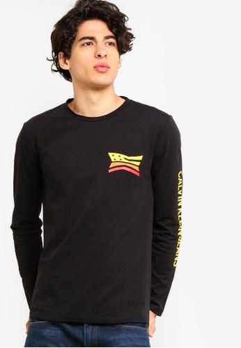 Calvin Klein 黑色 印花Print 長袖T恤 - Calvin Klein 牛仔褲 DFAAAAA82C87C8GS_1