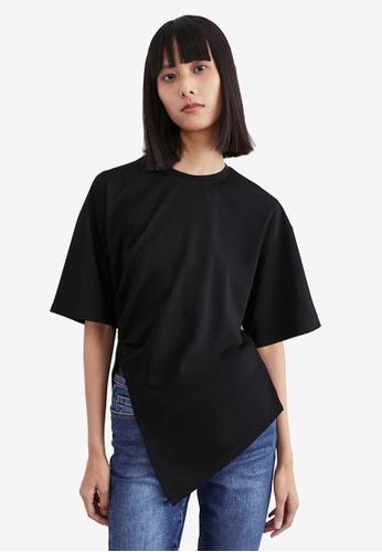 URBAN REVIVO black Asymmetric T-Shirt D9A38AA4940B4EGS_1