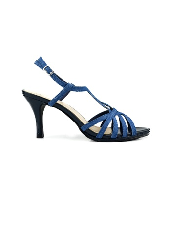 SHINE blue Denim Fabric Multistrap Sandal 1CA53SH874B7AAGS_1