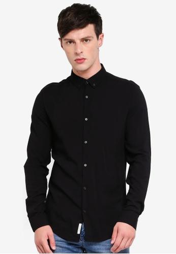 River Island 黑色 鈕釦長袖襯衫 258C7AAF1E9927GS_1
