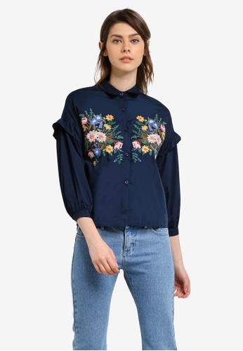 Megane navy Yolande Embroidery Shirt ME617AA0S0W3MY_1