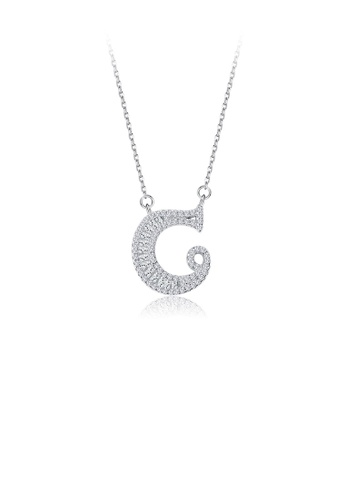 Glamorousky white 925 Sterling Silver Fashion Personality English Alphabet C Cubic Zircon Necklace EFAF4AC0883626GS_1