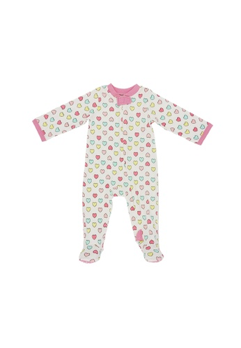 Baby Lovett white Fluffy Hearts Two-Way Zipper Suit 101B7KA5DEA904GS_1