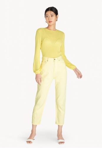 Pomelo yellow Sheer Open Back Blouse - Yellow 8DFD8AA5CD8948GS_1