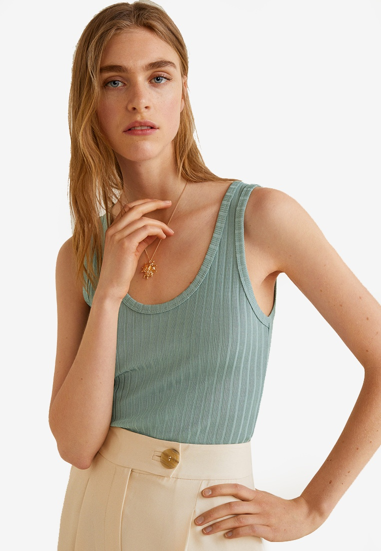 Mango Ribbed Top Mango Strap Ribbed Green 8TqRHwSp