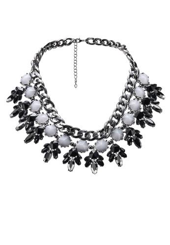 Red's Revenge black Metal Chains Gemstone Statement Necklace 90CF4AC9DD9A97GS_1