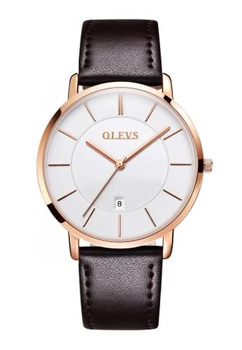 OLEVS multi Olevs Ultra Light Women Calendar Leather Quartz Watch EF159AC6281FEAGS_1