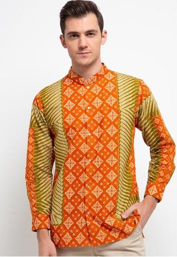DAYS by DANAR HADI orange and multi Kemeja Panjang Slimfit Batik Print Motif Latar Segi Cemukiran 62581AA219E71CGS_1