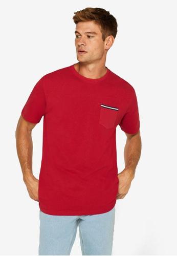 ESPRIT 紅色 Pique 口袋T-襯衫 6044BAA0409D10GS_1