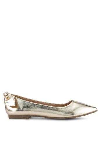Velvet gold Back Bow Pointed Ballerina Flats 55700SHF3BD446GS_1