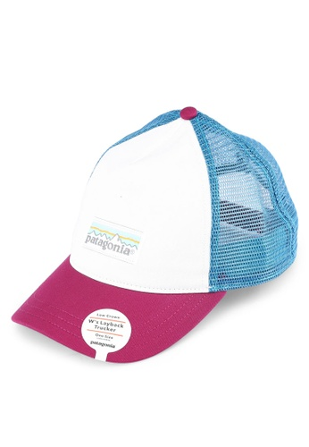 Patagonia white and multi Pastel P-6 Label Layback Trucker Hat PA549AC0RQFSMY_1